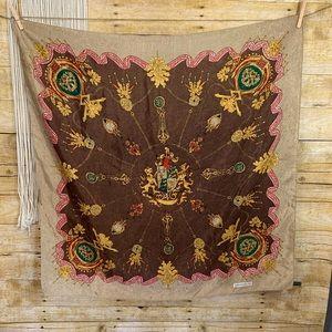 Vintage Sun Kyung SA Lions Medallion Silk Scarf
